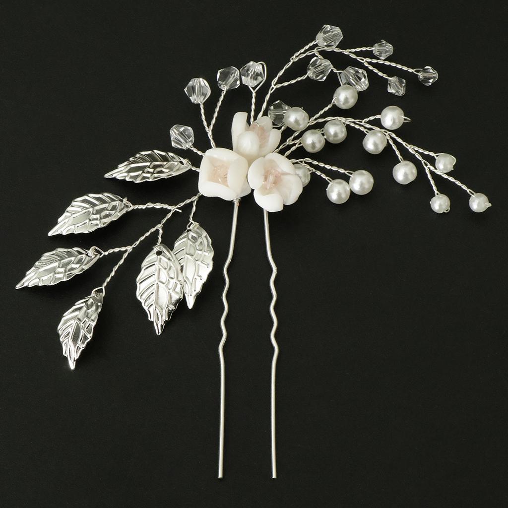 U Type Bridal Pearl Flower Side Hair Clips Bridal Headpiece Wedding ... 157628dc7764