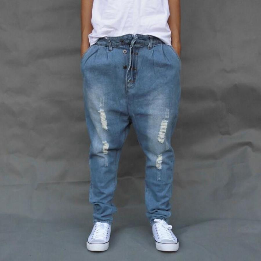schöner Stil elegantes und robustes Paket ziemlich cool Blue Ripped Baggy Denim Hose Herren Low Drop Crotch Skateboard Jeans Herren  Lose Harem Jogger Pants Plus Größe Cross A60509