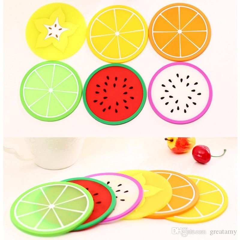 7 estilos Fruit Forma Silicone Cup Hot Coaster Padding deslizamento Pad Copa do isolamento Mat Pillow hot stand bebida