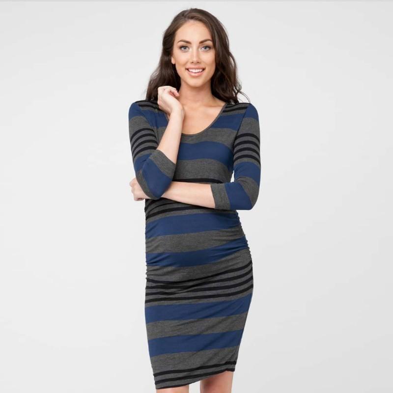 58ec84100 Compre Mujer Embarazada Europea Que Alimenta La Ropa Vestido De Maternidad  Pullover Raya Enfermera Chaqueta Más Función Mamá Vestidos De Lactancia  Vestido A ...
