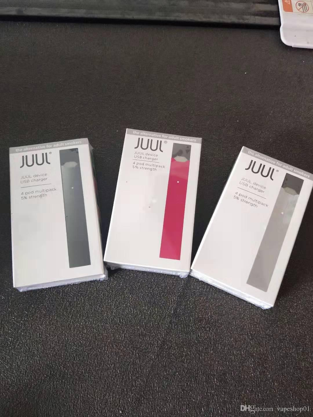 2020 best goods Juul starter Kit 250mah battery With 4 juul Pods USB  Charger Portable Vape Pen juul device Kit