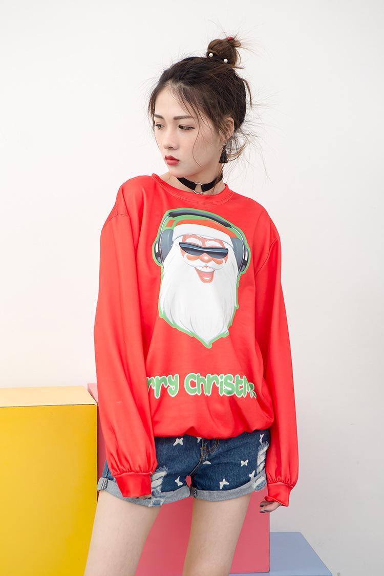 Hirigin 크리스마스 남성 여성 후드 3D 남여 크리스마스 운동복 참신 산타 클로스 풀오버 커플 색채 Pritned 의상 탑