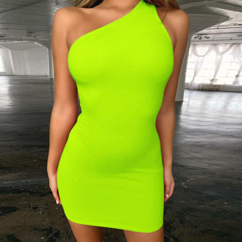 ca9a02243a43 2019 Neon Dress One Shoulder Sleeveless Backless Green Orange Solid 2019  Summer Fashion Sexy Dresses Women Party Club Streetwear From Jc801, $8.55 |  DHgate.