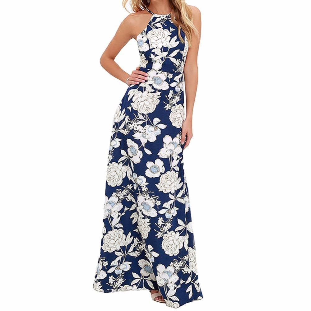 a75212029a0 Vintage Floral Print Summer Long Maxi Dress Off Shoulder Sexy Women Causal Dress  Plus Size Beach Party Dresses Vestidos Yellow Maxi Dress With Sleeves White  ...