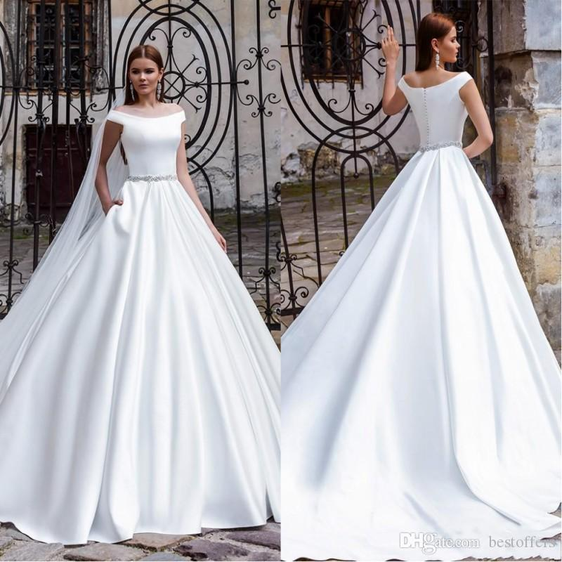 New Arrival Off Shoulder Ball Stain Wedding Dresses 2019