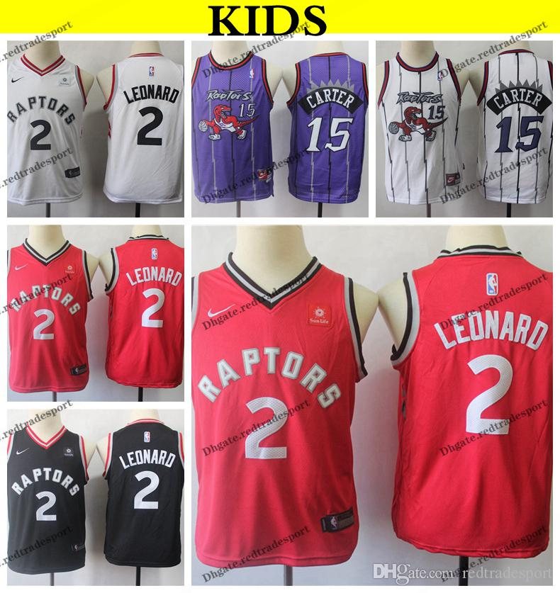 purchase cheap 0c9c3 90ca7 2019 Kids #2 Toronto Kawhi Leonard Raptors Basketball Jerseys Youth Vince  Carter Vintage #15 Stitched Shirts S-XL