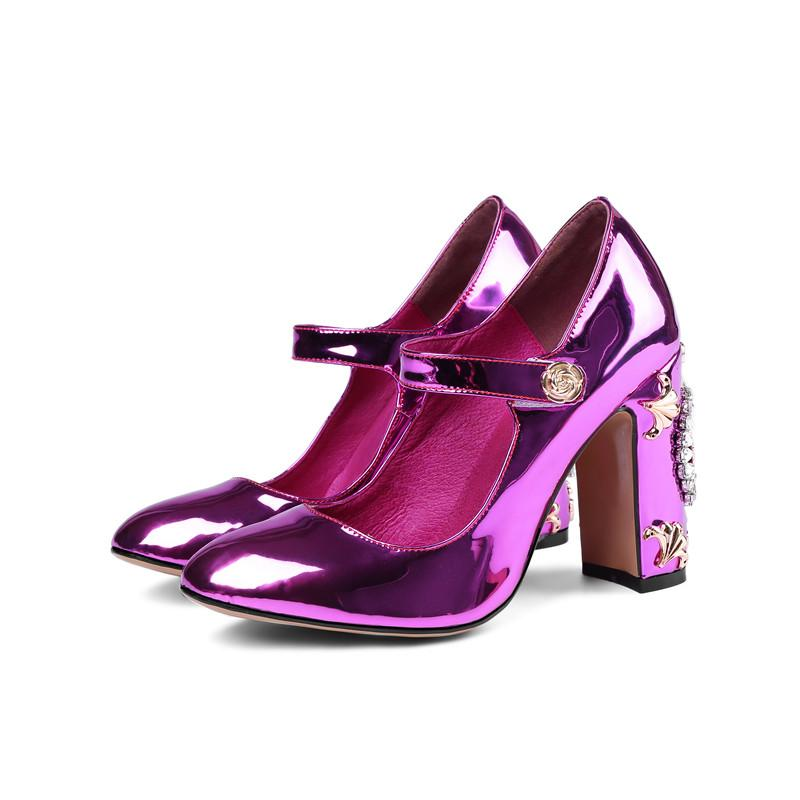 0bfda98e81ba9f Wholesale Sexy Mary Janes Patent Leather Women Pumps Chunky High Heels  Crystal Clock Embellished Wedding Shoes Stiletto Shoes For Women Cheap Shoes  From ...