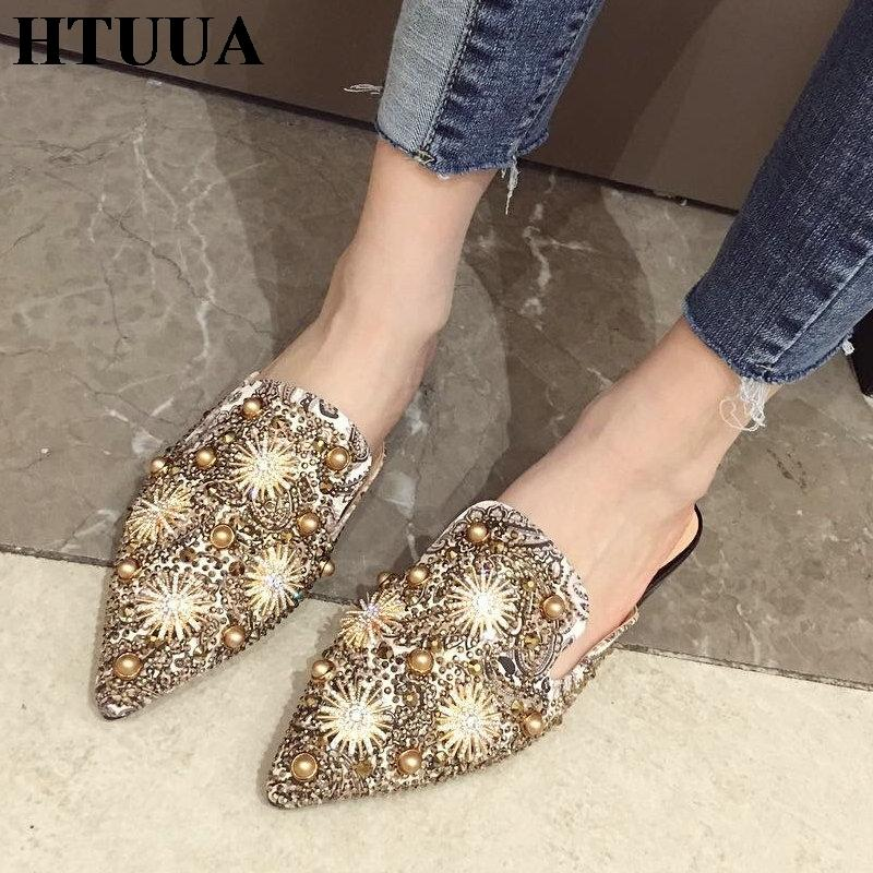 89355e9a0ed79 2019 New Spring Summer Pointed Toe Mules Shoes Women Slippers Boho Flat  Heel Slides Summer Flip Flops Ladies Sandals