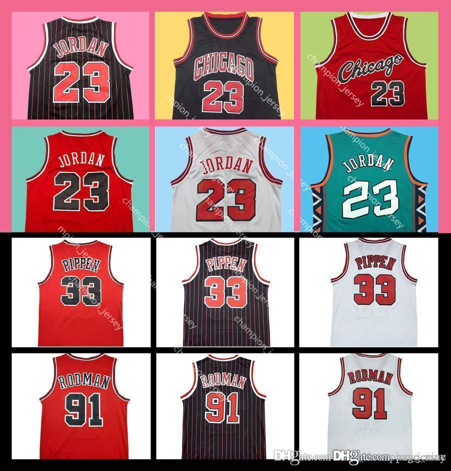buy popular 0aa02 1e0c4 Chicago 23 Scottie Pippen Jersey 33 Dennis Rodman Bulls Jersey 91 Stitched  Basketball Jersey Free Shipping