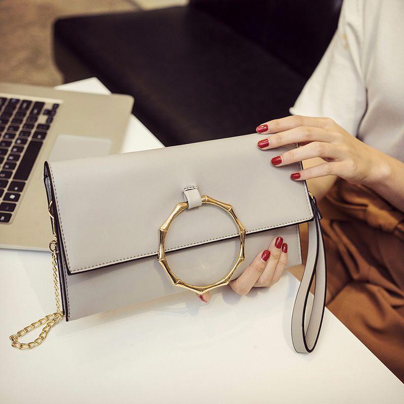 7522cd5472 Women Chain Ring Envelope Bag Leather Clutch Bag Big Gold Circle Handle  Crossbody Handbag Pink Bolsa Mensageiro