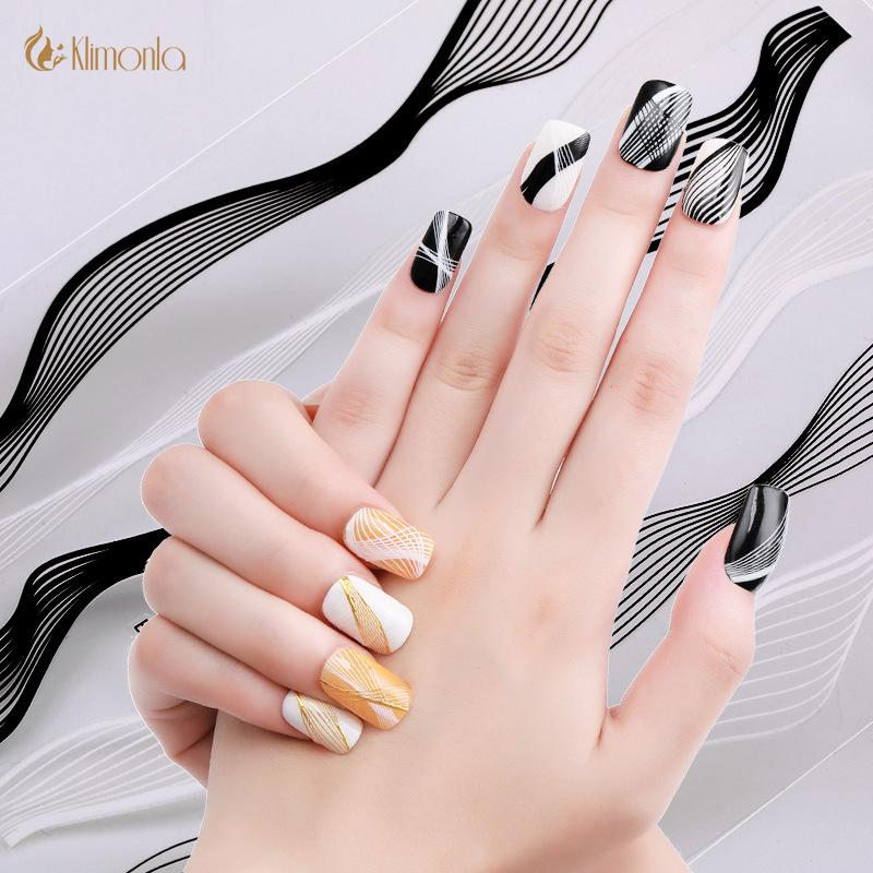1pcs/2pcs Gold Silver Stripe Lines Nail Stickers 3D Adhesive Nail Art  Design Decals Manicure Tips Sticker Decoration