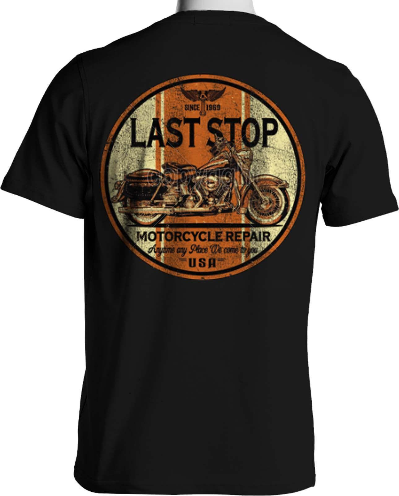 fc18d66d412 Route 66 Biker T Shirt Distressed Motorcycle Repair Sign Small To 6XL And  Tall Summer O Neck Tee