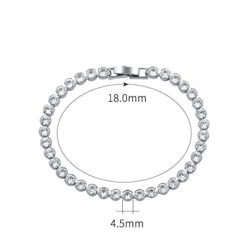WEIMANJINGDIAN Yeni Varış 4.5mm Yuvarlak Kesim Kübik Zirkonya CZ Zirkon Kristal Gelin Tenis Kadınlar veya Düğün için Bilezikler