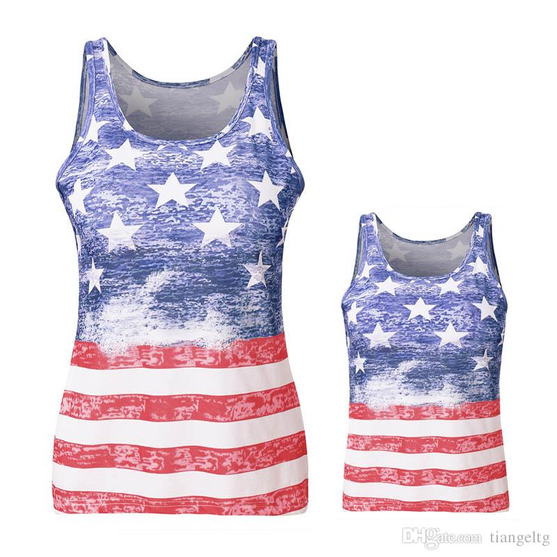 Mother Kids Star Print Vest Sleeveless Vest American Flag Independence National Day USA 4th July Stripe Family Matching Outfits S-3XL