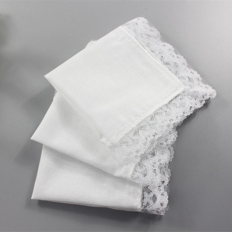 50PCS Personalized White Lace Square Handkerchief Woman Wedding Gifts Wedding Decoration Cloth Napkins 25 *25cm