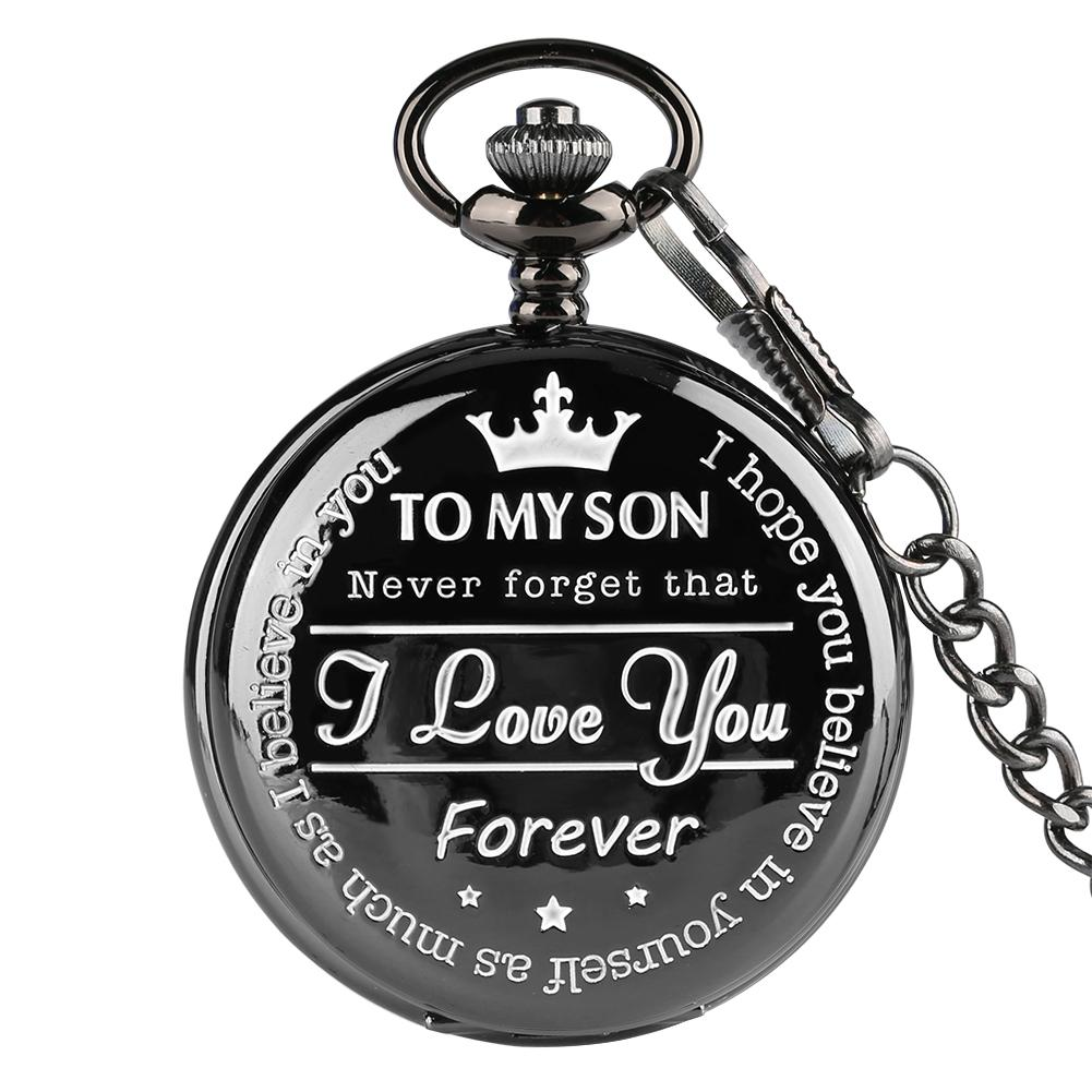 "Men's Pocket Watch Pendant watch ""To MY SON"" Laser Word Series Boys clock Exquisite Honorable Link Chain"