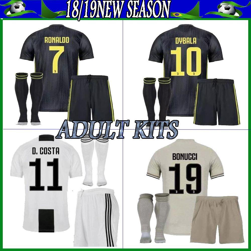 buy popular 75de3 01932 juventus soccer Jersey adult kits socks RONALDO 2018/19 juven soccer  jerseys shirts uniforms 18/19 football shirt adult kit with socks