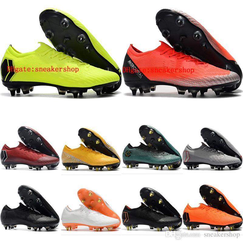 38f845cb68 Compre 2019 Chuteiras De Futebol Dos Homens Mercurial Superfly VI Elite CR7  SG Sapatos De Futebol AC De Couro Baratos Neymar JR Baixo Tornozelo Botas  De ...