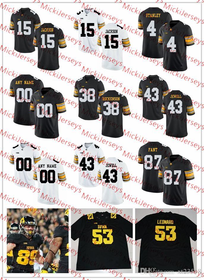size 40 30010 b61e6 Custom Iowa Hawkeyes FOOTBALL Jersey Nate Stanley Noah Fant T.J. Hockenson  Josh Jackson Josey Jewell Brandon Scherff Iowa Hawkeyes Jersey