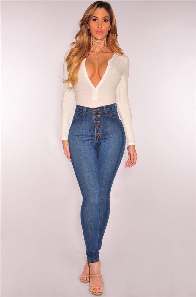 a04657d377 Compre 2019 Primavera Otoño Sexy Mujeres Jeans Moda Botón De Cintura Alta  Mosca Delgada Lápiz Pantalones De Mezclilla Para Mujer Ropa De Mujer Fondos  A ...