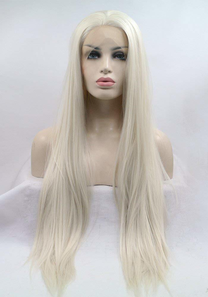 Fantasy Beauty Platinum Blonde Glueless Synthetic Hair Lace Front Wigs Long Natural Straight Half Hand Tied Replacement Full Wig