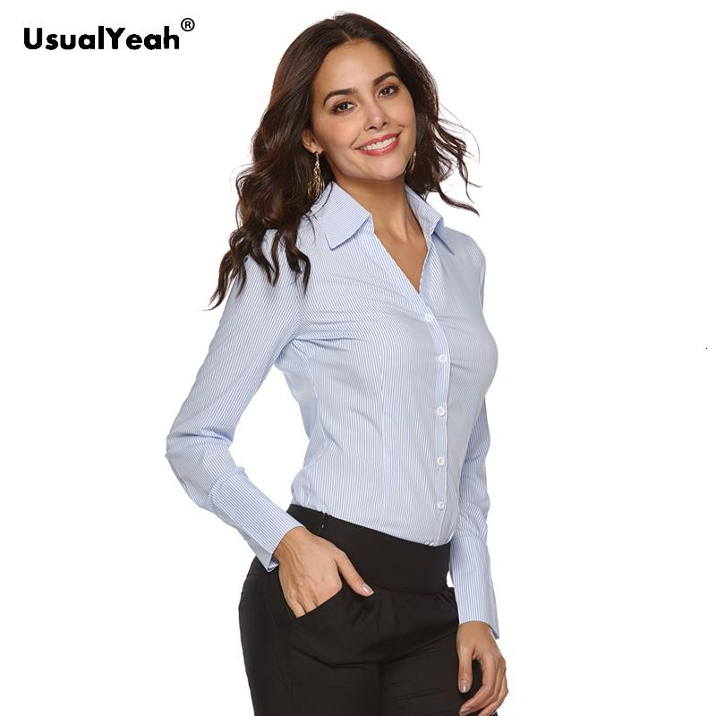UsualYeah New mulheres formal camisas manga comprida corpo Shirt Turn-Down Collar Camisas V Neck OL e Blusas Striped branco azul S-4XL V191202