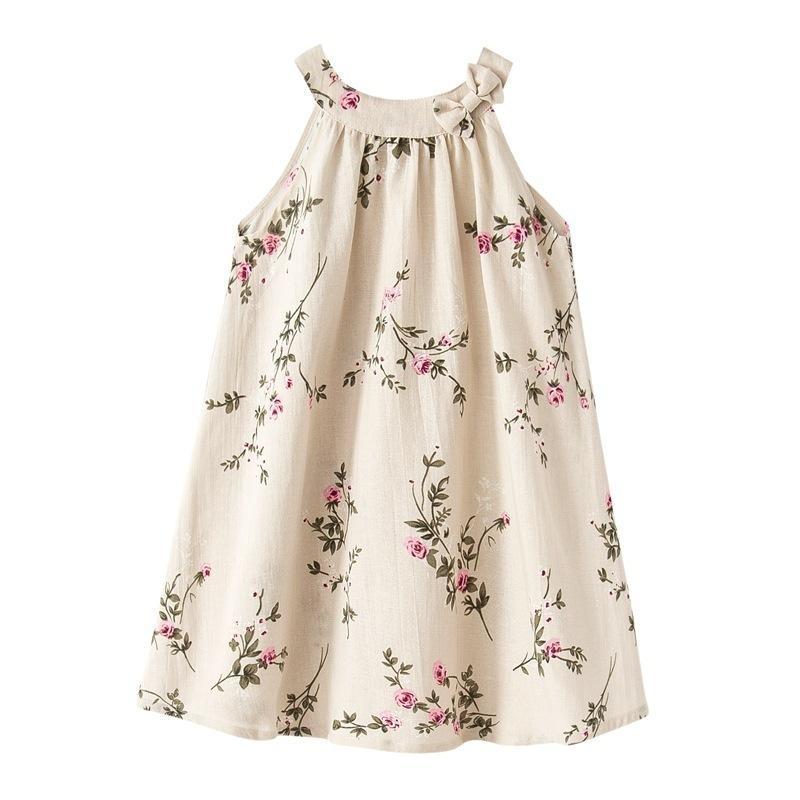 8821eb9f7672 Acquista Baby Girls Sweet Flower Stampato 100% Lino Bow Dress Bambini Stile  Allentato Una Linea Vestiti Ragazza Estate Spiaggia Abiti 80 150 Cm A   34.69 Dal ...