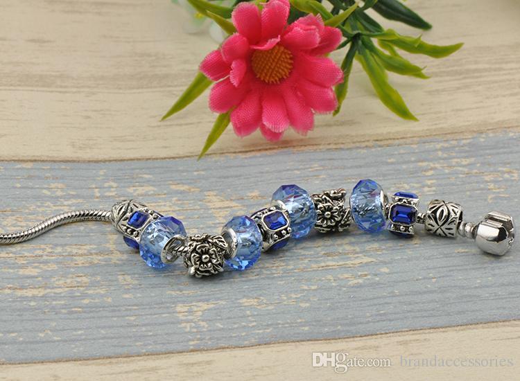 Sapphire Crystal Beads Charm Bracelets Bangles Fit Pandora Silver Plated Women Fashion Brand Navy Gemstone Diamond Alloy Accessories P43