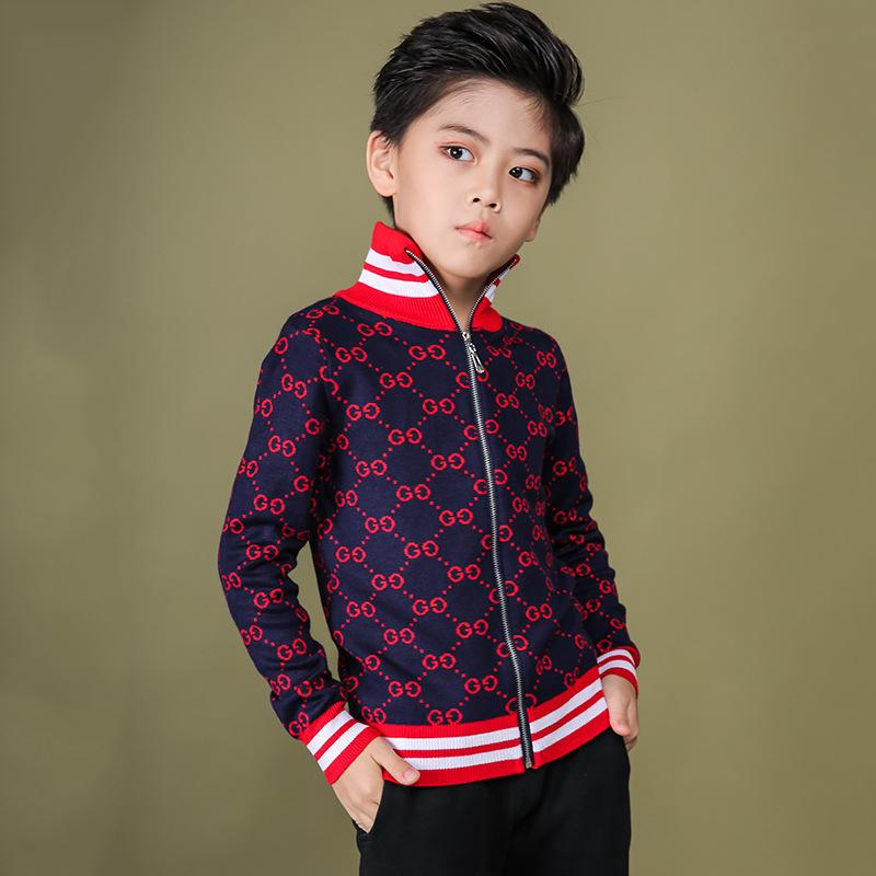 Kids Jackets Zipper Color Collision Stripe Handsome Boys Knitting Korean Edition Autumn And Winter New Pattern Letter Cardigan 092012