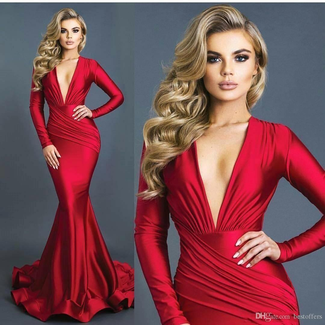 Modest Mermaid Red Evening Dresses Ruched Deep V-neck Long Sleeves Formal Prom Dress Vestidos Elastic Silk Like Satin BA8971