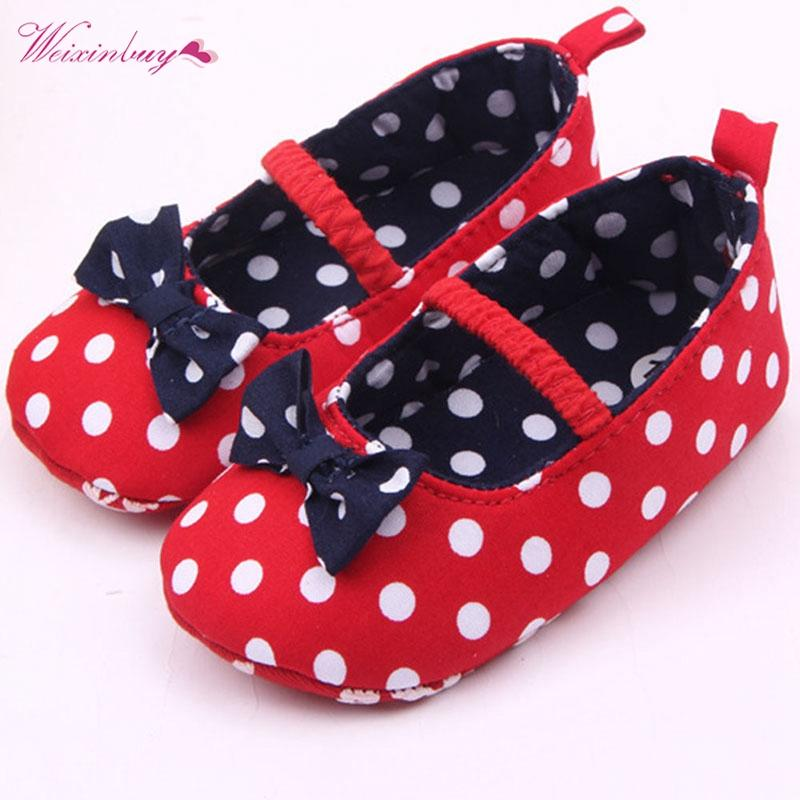 First Walkers Reasonable Summer Baby Girls Soft Sole Shoes Dots Bowknot Toddler Anti-slip Shoes