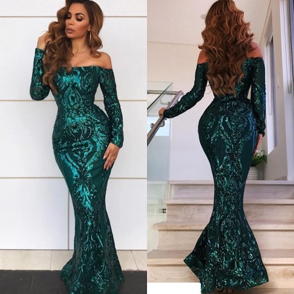 Green Arabic Prom Dresses 2019 Sexy Off The Shoulder Full Sparkly Lace Long Sleeve Evening Gowns Floor Length Dubai Formal Dress DP0249