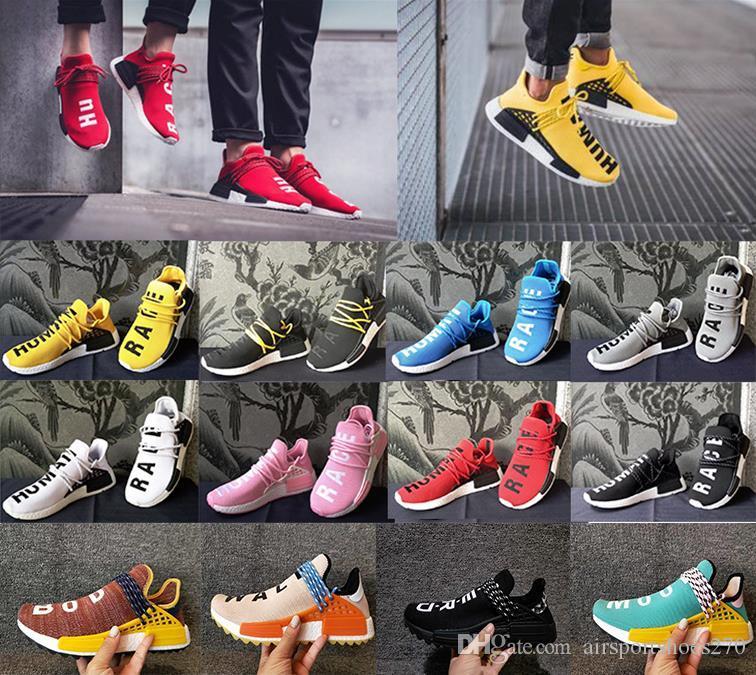 purchase cheap 12048 d5785 wholesa 2018 Human Race Hu trail pharrell williams casual shoes Nerd black  cream Holi mens trainers women designer sport shoe outdoors 36-47