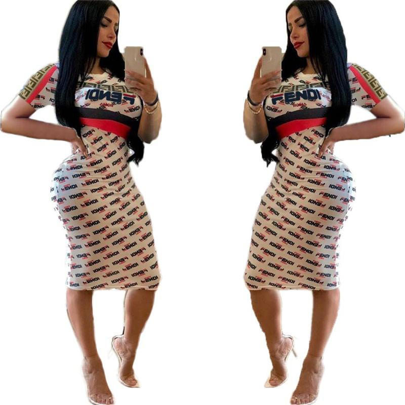 45f5e0af44 2019 Summer F Letter Printed Women Bodycon Dresses Short Sleeve Dress Knee  Length Skirts Girls Night Club Clothes Party Wear S XL C41501 From  Good_case, ...