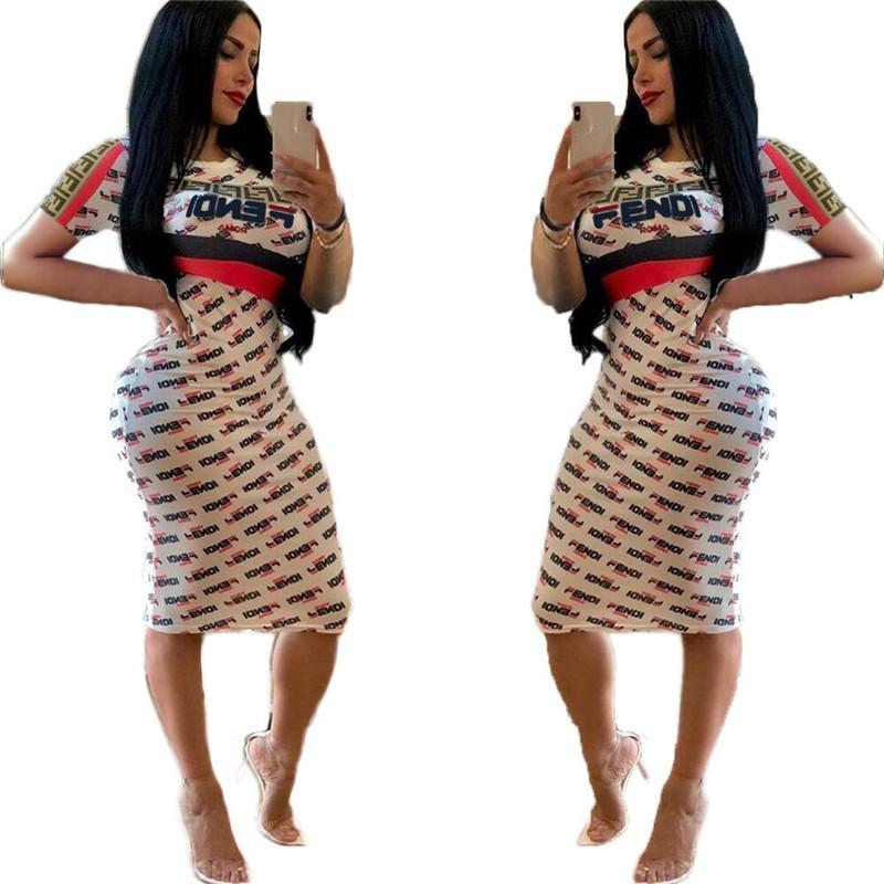 6556b04835 Compre Verano F Carta Impreso Mujeres Bodycon Vestidos De Manga ...