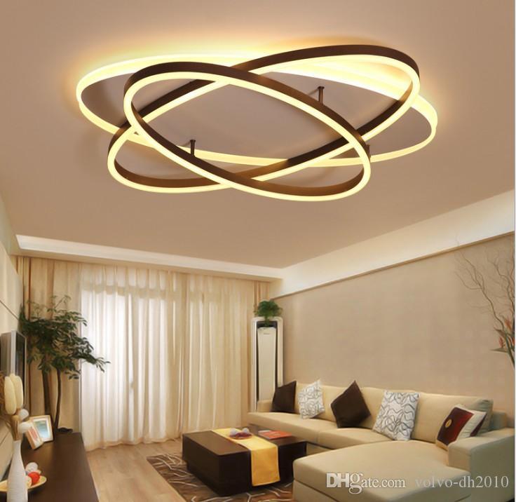 Acheter plafonniers modernes led ellipse anneaux lustre - Plafonnier salle a manger ...
