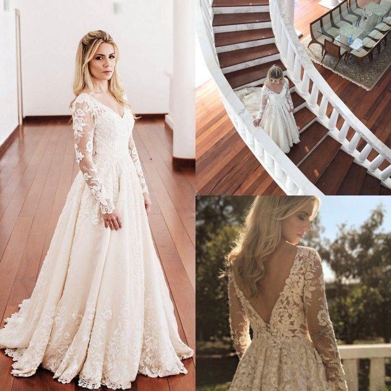 Chinese Long Sleeve Lace Wedding Dress