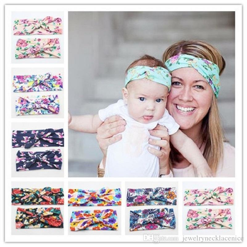 2PCS/Set Mom Mother Daughter Kids Baby Girls Bow Headband Hair Band Accessories Parent Child Family Headwear Cheap Wholesale