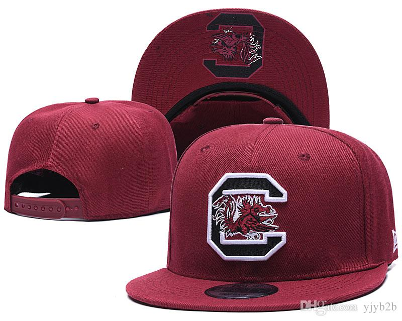 2018 New South Carolina Gamecock NCAA Snapback Hats Brand USA College Logo de dibujos animados Gorras ajustables Moda Hip Hop borgoña Chapeaus rojo