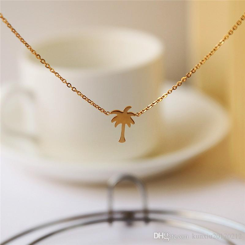 29d6fee8089 Wholesale Dropshipping Gold Color Palm Tree Necklace Women Boho Jewelry  Island Life Stainless Steel Chain Bff Gift Collier Femme 2019 Horse Pendant  Necklace ...