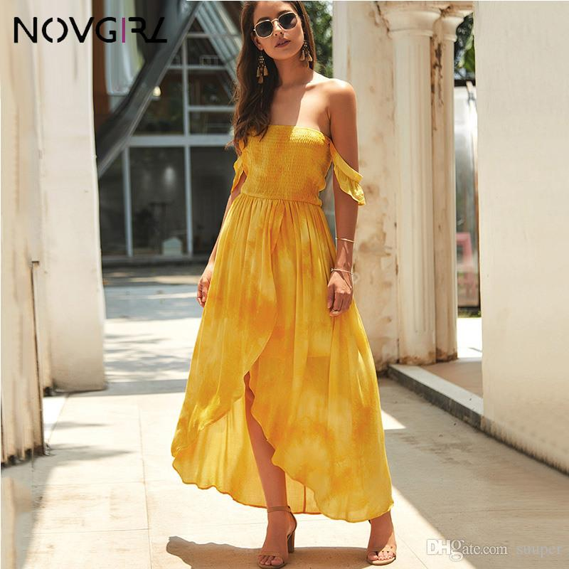 Novgirl Off Shoulder Smocked Wrap Dress Women 2019 Summer Boho Floral Print Beach Maxi Dress Strapless Sexy Party Red Vestidos
