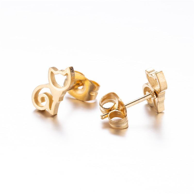 Set di gioielli in acciaio inox Orecchini collane Set donna 2018 Animal Hollow Cat Pendent Collane Orecchini Set di gioielli