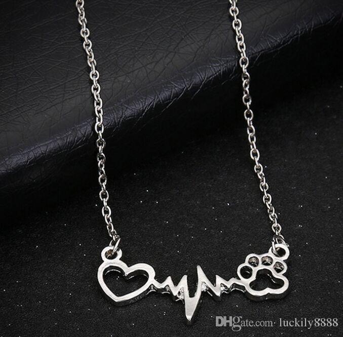 20pcs/lot Fashion Necklace Antique Silver Vintage Hollow Paw Print Heart Charms Pendants Necklace 60cm