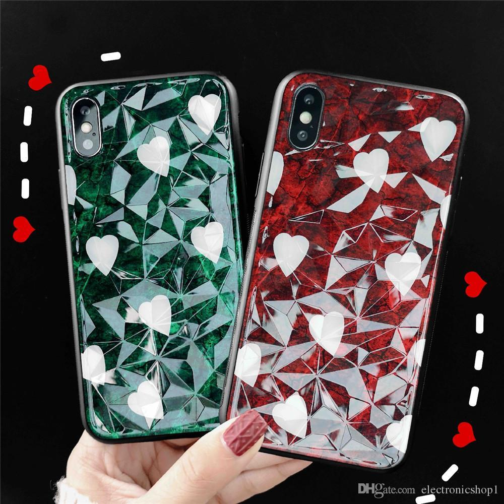 3d1a80510 2019 Fashion Phone Case Love Diamond Pattern Case For Iphone Case Hot Sell  Gift Lovers Covers For Iphone Xs Max Xr 67 8 Plus Leather Cell Phone Cases  Phones ...