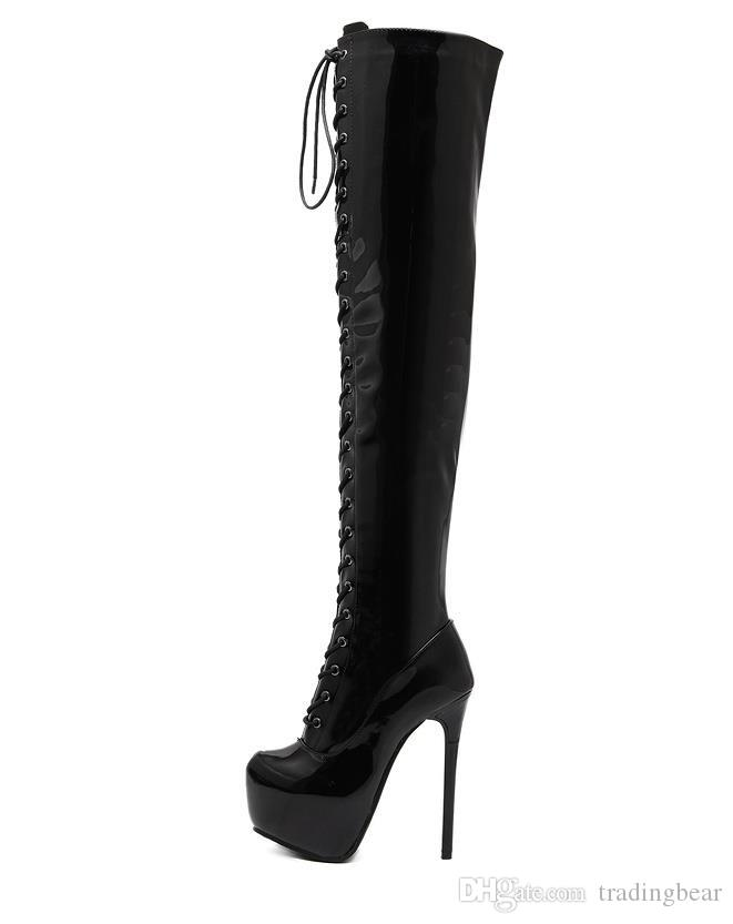 14cm Sexy Lace Up Red Bottom High Heels Over The Knee Thigh High Boots Designer Shoes Size 34 To 40