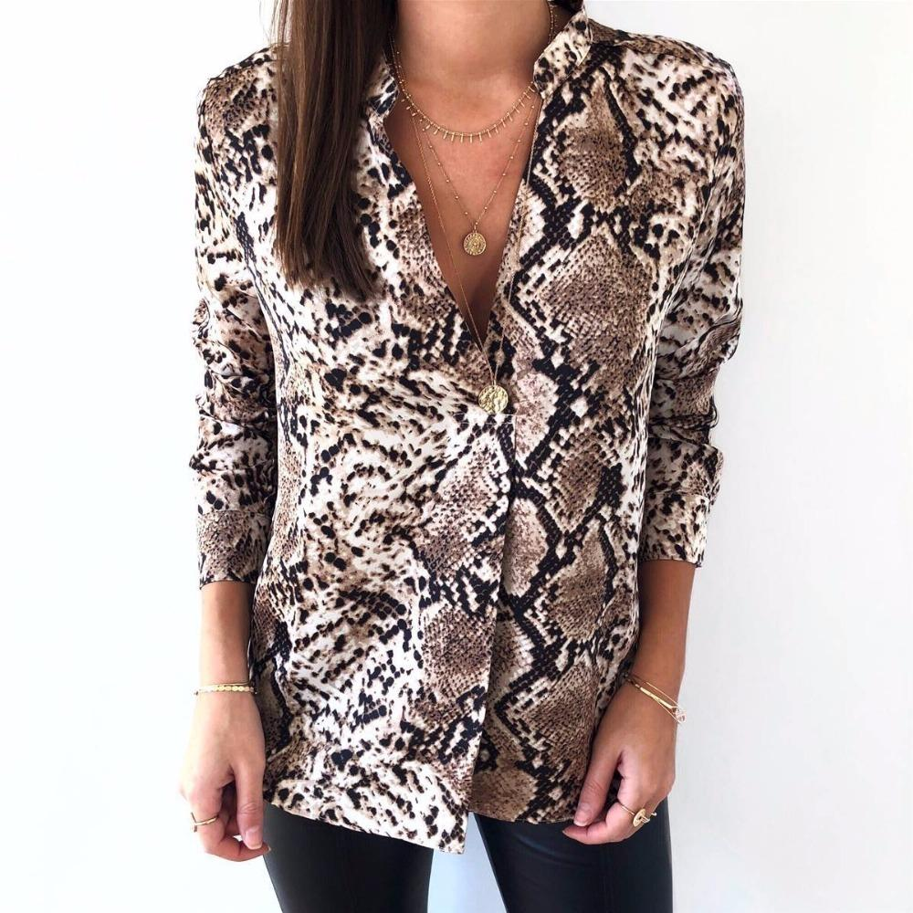 12214ec638102 2019 2019 Slim Vintage Leopard Print Blouse Women V Neck Long Sleeve Animal  Print Leopard Shirts Womens Tops And Blouses From Godblessus16388802, ...