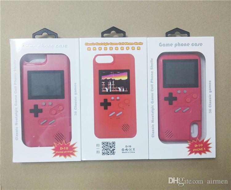 2 in1 Handheld Game Consoles phone case Silica gel protective sleeve Retro Game machine player Color LCD For iphone6 7 8 8plus X XS Max Xr