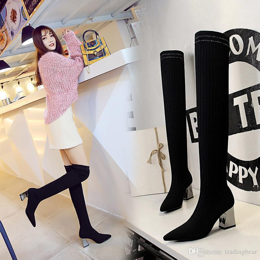 6b28ff165035 Charm2019 Trendy Black Over The Knee Boots Metal Chunky Heel Knitting Wool  Pointed Toe Thigh High Boots Sexy 7cm To Winter Boots For Women Motorcycle  Boots ...