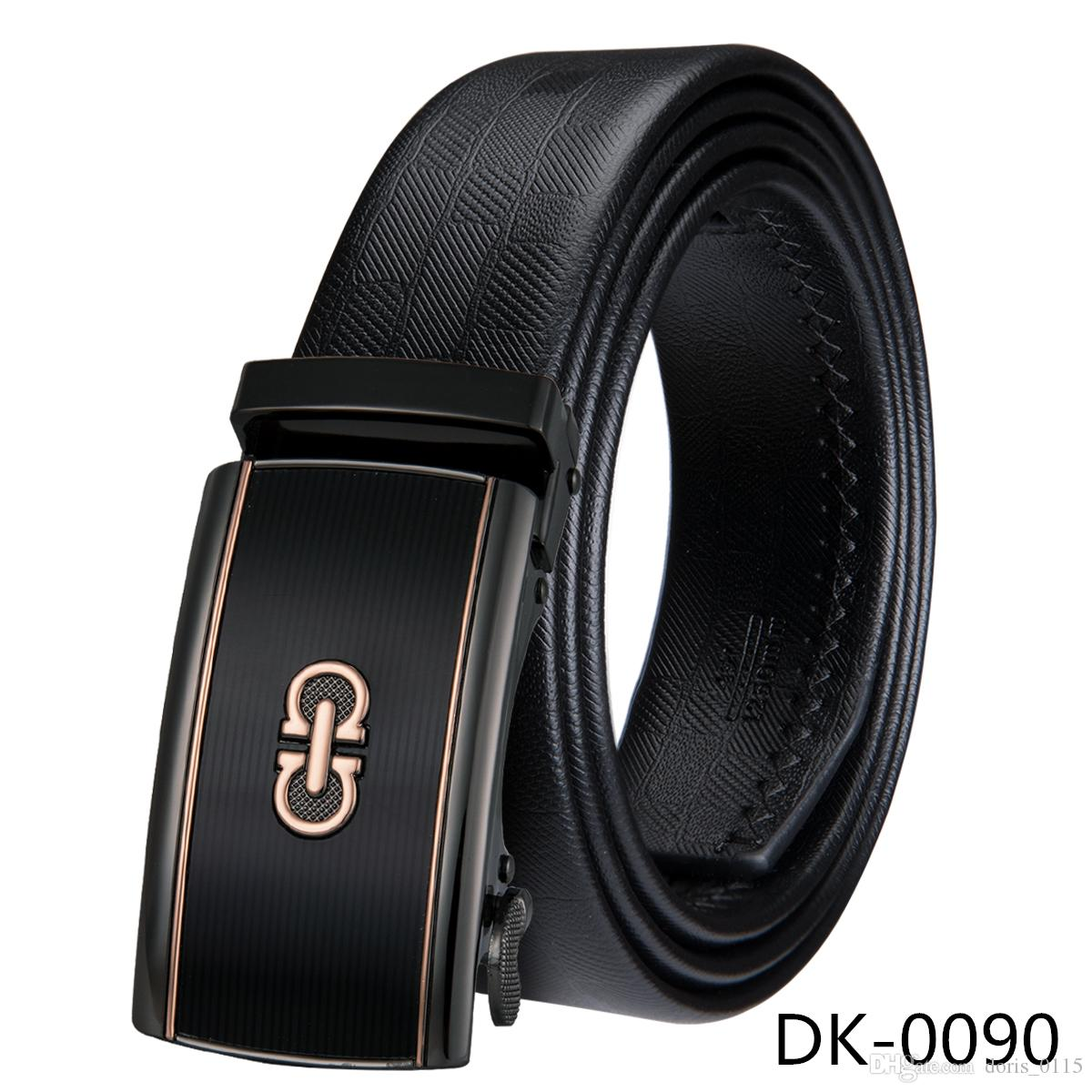 Hi-Tie men's belt fashion 100% Genuine Leather mens belts for men High quality metal automatic buckles Strap male for Jeans cowboy DK-0090
