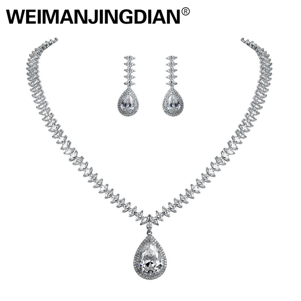 78f52d055c Sparkling Large Teardrop Cubic Zirconia CZ Drop Necklace and Earring  Wedding Sets for Women Wedding Bride